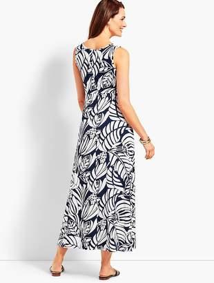 Talbots Graphic Botanical Jersey Maxi Dress