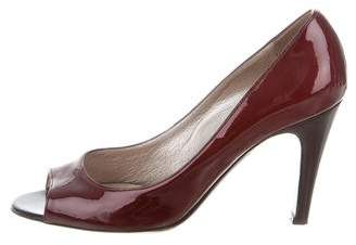 Salvatore Ferragamo Patent Leather Peep-Toe Pumps