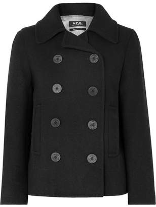 A.P.C. Caban Swinging Cropped Double-breasted Wool-blend Coat - Black