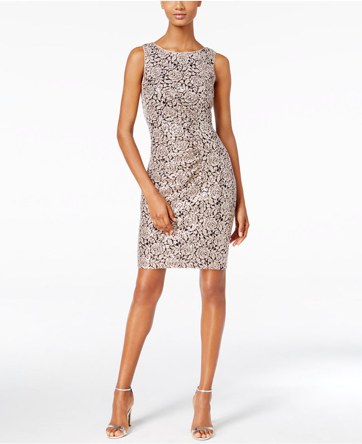 Calvin Klein Calvin Klein Sequined Rose-Pattern Sheath Dress