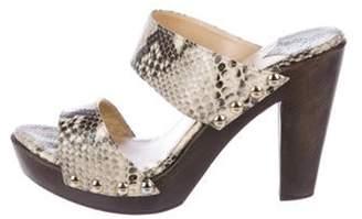 Jimmy Choo Snakeskin Platform Sandals grey Snakeskin Platform Sandals