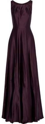 Max Mara Osol Cutout Hammered Silk-Satin Gown