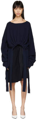 Stella McCartney Navy Cashmere Ribbon Tie Sweater