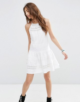 ASOS Cotton Mini Sundress With Lace Inserts $49 thestylecure.com