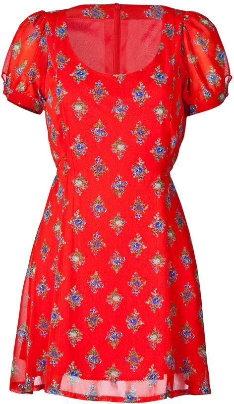 Orion Red Floral Belted Dress