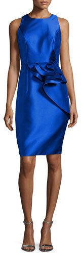 Carmen Marc Valvo Carmen Marc Valvo Sleeveless Ruffle-Trim Satin Cocktail Dress, Royal