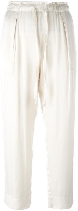 Raquel Allegra liquid satin drawstring cropped trousers