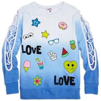 Flowers by Zoe Girls' Ombré Love Sweatshirt with Lattice-Cutout Sleeves - Little Kid