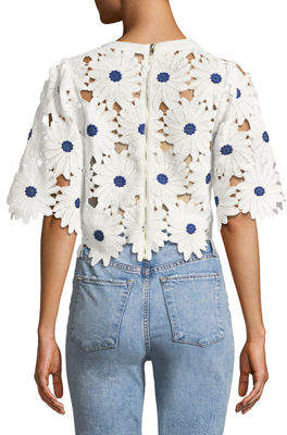 Gracia Big Flower Lace Crop Blouse