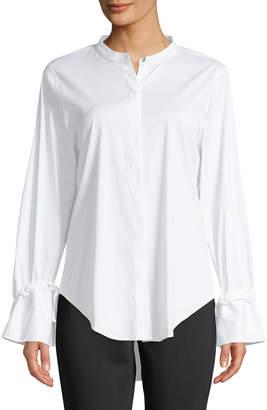 Donna Karan Button-Down Flare-Sleeve Blouse