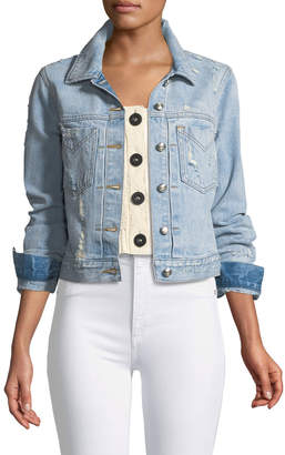 Derek Lam 10 Crosby Nico Distressed Cropped Jean Jacket