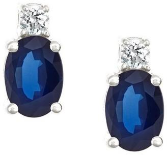 Premier 1.50cttw Oval Sapphire & 1/8cttw Diamond Earring, 14K
