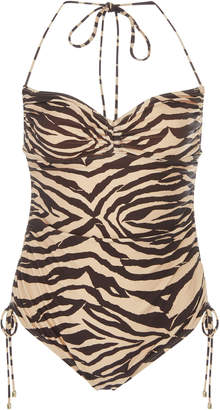 Zimmermann Juniper Ruched Zebra-Print One-Piece