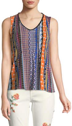 Carmen Marc Valvo Carmen By Sleeveless Ikat-Striped Blouse
