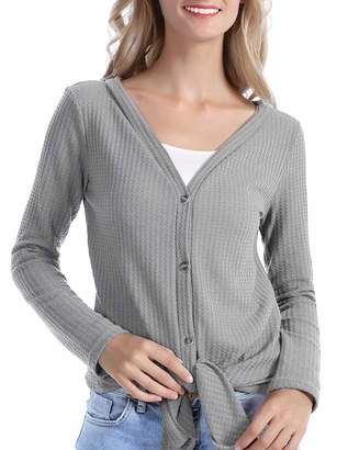 Les umes Womens Cardigans Casual Lightweight V Neck Long Sleeve Cardigan Sweaters with Buttons XL L