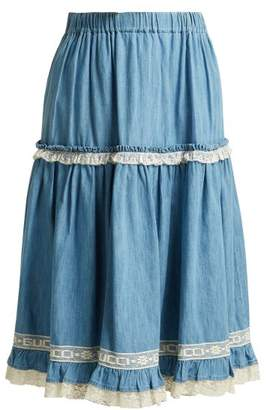 Gucci Lace Trimmed Chambray Skirt - Womens - Light Blue