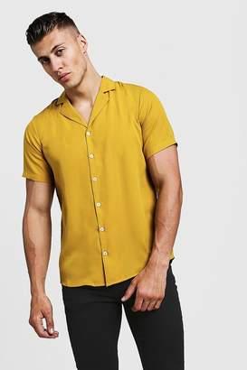 boohoo Short Sleeve Shirt With Revere Collar