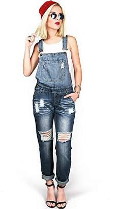 Machine Women's Juniors Distressed and Baggy Overalls