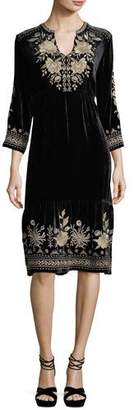 Johnny Was Magdalene 3/4-Sleeve Embroidered Velvet Dress