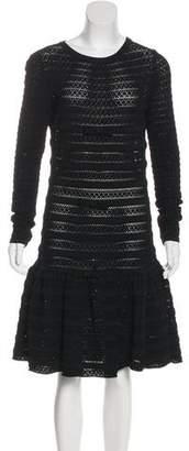 Valentino Bow-Accented Open Knit Dress