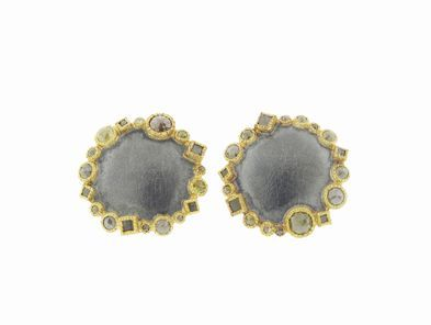 Todd Reed Large Textured Disc Earrings with Raw Diamonds