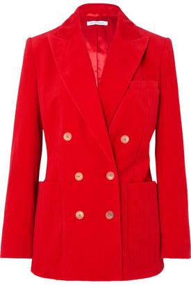 Bella Freud Bianca Double-breasted Cotton-corduroy Blazer - Red