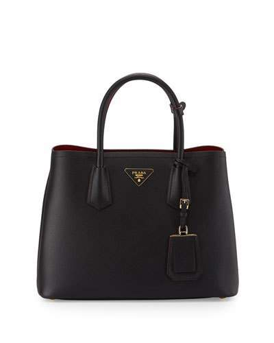 Prada Saffiano Cuir Double Medium Tote Bag, Black/Red (Nero+Fuoco)