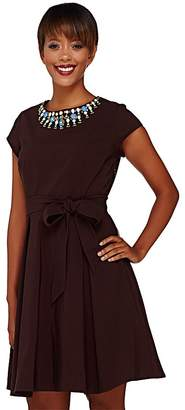 Isaac Mizrahi Live! Special Edition Embellished Neckline Dress