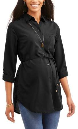 Oh! Mamma Oh Mamma Maternity Woven Long Sleeves Button-Front Shirt With Pocket and Tie Waist