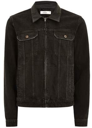 Topman Mens Blue Black Faux Leather Collar Denim Jacket