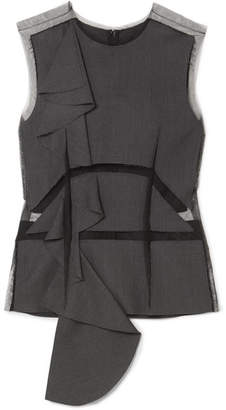 Maison Margiela Ruffled Tulle And Wool-twill Top - Dark gray
