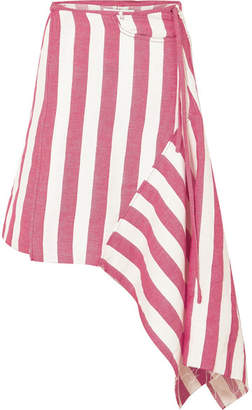 Marques Almeida Marques' Almeida - Asymmetric Striped Linen-blend Wrap Skirt - Red