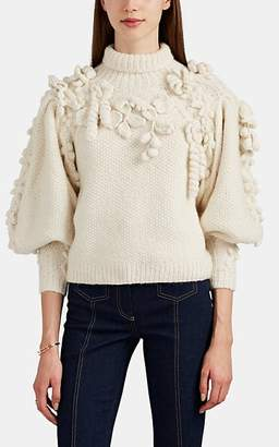 Ulla Johnson Women's Floral-Appliquéd Alpaca-Blend Sweater - White
