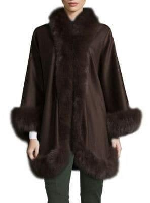 Dyed Fox Fur Cashmere Cape