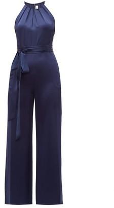 Diane von Furstenberg Constantina Tie Waist Satin Jumpsuit - Womens - Navy