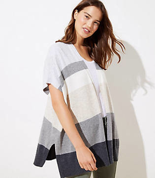 LOFT Colorblock Open Poncho Sweater