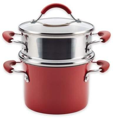 Rachael RayTM Cucina Hard Porcelain Enamel Nonstick 3 qt. Multi-Pot Steamer Set in Cranberry Red