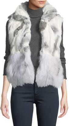 Adrienne Landau Short Patchwork Fur Vest