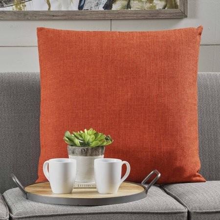 Noble House Stauss Fabric Pillow, Single, Muted Orange