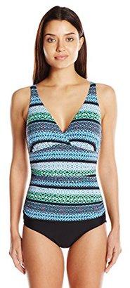 Jantzen Women's Slim Geo Graphic Stripe C/D Cup Over the Shoulder One Piece Swimsuit $115.93 thestylecure.com