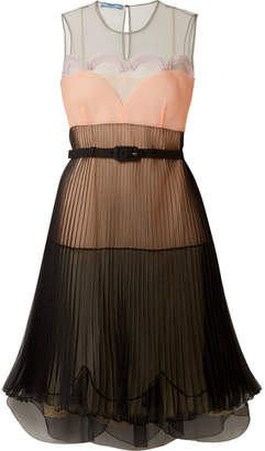 Prada - Pleated Color-block Organza Dress - Black