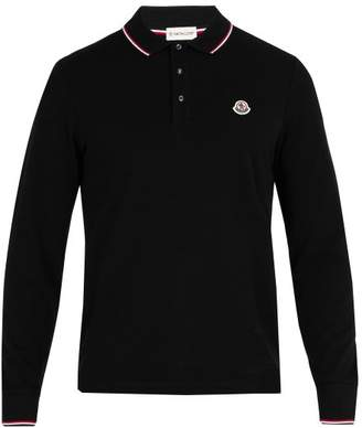 Moncler Long Sleeve Cotton Pique Polo Shirt - Mens - Navy