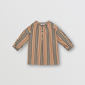 Burberry Childrens Icon Stripe and Vintage Check Cotton Blouse