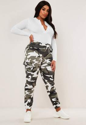 Missguided Curve Gray Camo Printed Combat Pants
