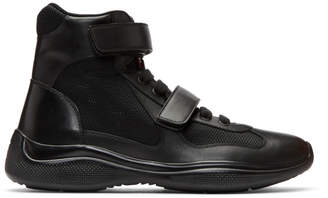 Prada Black Leather and Mesh Velcro High-Top Sneakers