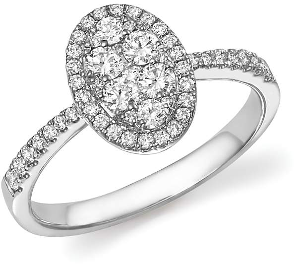 Diamond Cluster Oval Statement Ring in 14K White Gold, .65 ct. t.w. - 100% Exclusive