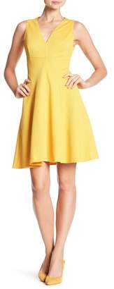 London Times V-Neck Solid Knit Pique Fit and Flare Dress