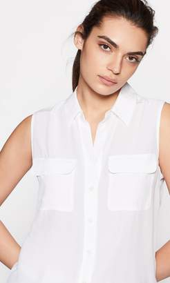 Equipment SLEEVELESS SLIM SIGNATURE SILK SHIRT