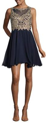Xscape Evenings Mesh Applique Party Dress