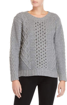 Cliche Beaded Cable Knit Sweater